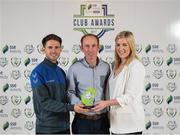 24 October 2017; Limerick FC representatives Harry Lynch, left, and Daniel Clinton, are presented with the Best Community Initiative award by Anne McAreavey, SSE Airtricity Marketing Manager, during the SSE Airtricity League Club Awards at City Hall in Dublin. Photo by Seb Daly/Sportsfile