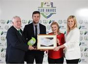 24 October 2017; David Geary and Lisa Fallon of Cork City are presented with the SSE Airtricity Club of the Season Award by FAI President Tony Fitzgerald, left, and Anne McAreavey, SSE Airtricity Marketing Manager, during the SSE Airtricity League Club Awards at City Hall in Dublin. Photo by Seb Daly/Sportsfile