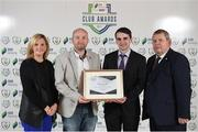 24 October 2017; Shane Marron and Ronan McCarthy of Wexford FC are presented with their Multi Media Club of the Season Commendation award by Leanne Sheill, SSE Airtricity Sponsorship Specialist, and Eamon Naughton, Chairman of the SSE Airtricity League, right, during the SSE Airtricity League Club Awards at City Hall in Dublin. Photo by Seb Daly/Sportsfile
