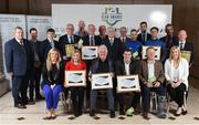 24 October 2017; Representatives from all the winning clubs are joined by FAI President Tony Fitzgerald, centre, Leanne Sheill, SSE Airtricity Sponsorship Specialist, left, and Anne McAreavey, SSE Airtricity Marketing Manager, right, during the SSE Airtricity League Club Awards at City Hall in Dublin. Photo by Seb Daly/Sportsfile