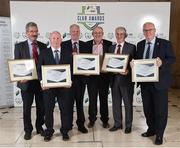 24 October 2017; Commendation Award winners, from left, Martin Heraghty, Sligo Rovers,  Andrew McGouran, Shelbourne FC, Donal Byrne, Bohemian FC, Fran Gavin, Competition Director, Football Association of Ireland, Chris Brien, Bohemian FC President, and Thomas Hynes, Bohemian FC, during the SSE Airtricity League Club Awards at City Hall in Dublin. Photo by Seb Daly/Sportsfile