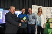 24 October 2017; Limerick FC representatives Harry Lynch, left, and Daniel Clinton, are presented with the Best Community Initiative award by Eamon Naughton, Chairman of the SSE Airtricity League, and Anne McAreavey, SSE Airtricity Marketing Manager, during the SSE Airtricity League Club Awards at City Hall in Dublin. Photo by Seb Daly/Sportsfile