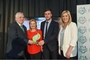 24 October 2017; Lisa Fallon and David Geary of Cork City are presented with the SSE Airtricity Club of the Season Award by FAI President Tony Fitzgerald, left, and Anne McAreavey, SSE Airtricity Marketing Manager, during the SSE Airtricity League Club Awards at City Hall in Dublin. Photo by Seb Daly/Sportsfile