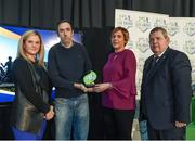24 October 2017; Derry City representatives, Kevin McDaid and Karen Pyne are presented with the Supporters Contribution Award, by Leanne Sheill, SSE Airtricity Sponsorship Specialist, and Eamon Naughton, Chairman of the SSE Airtricity League, during the SSE Airtricity League Club Awards at City Hall in Dublin. Photo by Seb Daly/Sportsfile