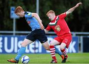 17 August 2012; Hugh Douglas, UCD, in action against Keith Quinn, Cork City. Airtricity League Premier Division, UCD v Cork City, Belfield Bowl, UCD, Belfield, Dublin. Picture credit: David Maher / SPORTSFILE