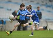 25 October 2017; Brian Stenson of Donabate Portrane Educate Together in action against Jack Keane of St. Patrick's NS Glencullen during day 1 of the Allianz Cumann na mBunscol Finals at Croke Park in Dublin.  Photo by Cody Glenn/Sportsfile