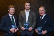 27 October 2017; In attendance at last nights launch of a book and an exhibition to commemorate the centenary of the achievement of the UCD Collegians hurling team in winning the All-Ireland senior hurling championship are, from left, Pat Leahy, Political Editor of the Irish Times, Stephen Lucey, former UCD and Limerick hurler and footballer and John Hyde, son of Sean Hyde who played for UCD Collegians in 1917. The book – UCD Collegians: All-Ireland Champions 1917 – written by Paul Rouse and Leanne Blaney. Photo by David Fitzgerald/Sportsfile