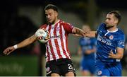 27 October 2017; Darren Cole of Derry City in action against Christy Fagan of St Patrick's Athletic, during the SSE Airtricity League Premier Division match between Derry City and St Patrick's Athletic at Maginn Park, in Buncrana, Co. Donegal. Photo by Oliver McVeigh/Sportsfile