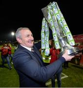 27 October 2017; Cork City manager John Caulfield celebrates after the SSE Airtricity League Premier Division match between Cork City and Bray Wanderers at Turners Cross, in Cork. Photo by Seb Daly/Sportsfile