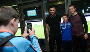 28 October 2017; Patrick McAnteer, age 14, representing Mullaghbane GAA Club, Co Armagh, is photographed with Carlow footballers Eoghan Ruth and Paul Broderick by friend Lorcan Savage, age 13, represnting Lissummon GAA Club, Co Armagh, during the #GAAyouth Forum 2017 at Croke Park in Dublin. Photo by Cody Glenn/Sportsfile