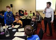 """28 October 2017; Wesley O'Brien, UCC Lecturer, asks Morgan O'Connell, representing Sixmilebridge GAA Club, Co Clare, more about his daily routine during the session entitled """"Getting The Right Balance - Juggling Demands As A Player"""" at the #GAAyouth Forum 2017 at Croke Park in Dublin. Photo by Cody Glenn/Sportsfile"""
