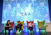 28 October 2017; Kerry footballer Paul Geaney, from left, Tipperary hurler Brendan Maher, and Mayo footballer Cora Staunton during a Q&A session at the #GAAyouth Forum 2017 at Croke Park in Dublin. Photo by Cody Glenn/Sportsfile