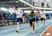 28 October 2017; Jordan Cunningham of St. Malachy's College, Belfast, Co Down, centre, on his way to winning the Junior Boys 800m Event, ahead of Iarlaith Golding of St Colmans Claremorris, Co Mayo, who finished second, at the Irish Life Health All Ireland Schools Combined Events at the AIT Arena in Athlone, Co Westmeath. Photo by Sam Barnes/Sportsfile