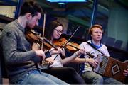 28 October 2017; Brian Harraghy, from left, Aoibhinn Loughlan, and Seamas Hyland, perform traditional Irish music during the #GAAyouth Forum 2017 at Croke Park in Dublin. Photo by Cody Glenn/Sportsfile