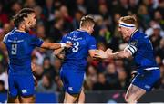 28 October 2017; Jordan Larmour, 23, of Leinster celebrates with team-mate James Tracy, right, after scoring his side's first try during the Guinness PRO14 Round 7 match between Ulster and Leinster at the Kingspan Stadium in Belfast. Photo by Ramsey Cardy/Sportsfile