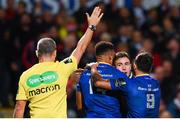 28 October 2017; Jordan Larmour of Leinster celebrates with team-mates Adam Byrne, left, and Jamison Gibson-Park, right, after scoring his side's first try during the Guinness PRO14 Round 7 match between Ulster and Leinster at the Kingspan Stadium in Belfast. Photo by Ramsey Cardy/Sportsfile
