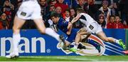 28 October 2017; Luke McGrath of Leinster dives over to score his side's second try despite the tackle of Sean Reidy of Ulster during the Guinness PRO14 Round 7 match between Ulster and Leinster at the Kingspan Stadium in Belfast. Photo by Ramsey Cardy/Sportsfile