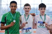 28 October 2017; Junior Boys medallists, from left, Jordan Cunningham of St. Malachy's College, Belfast, Co Down, silver, HIarlaith Golding of St Colmans Claremorris, Co Mayo, gold, and Alan Miley of Dunlavin CC, Co Wicklow, bronze, at the Irish Life Health All Ireland Schools Combined Events at the AIT Arena in Athlone, Co Westmeath. Photo by Sam Barnes/Sportsfile