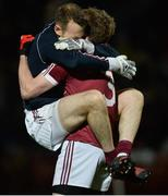 28 October 2017; Antoin McMullan and Brendan Rodgers of Slaughtneil celebrate at the final whistle of the AIB Ulster GAA Football Senior Club Championship Quarter-Final match between Slaughtneil and Omagh St Enda's at Celtic Park in Derry. Photo by Oliver McVeigh/Sportsfile