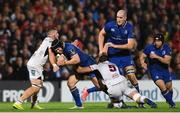 28 October 2017; Sean O'Brien of Leinster is tackled by Sean Reidy, left, and Kieran Treadwell of Ulster during the Guinness PRO14 Round 7 match between Ulster and Leinster at the Kingspan Stadium in Belfast. Photo by Ramsey Cardy/Sportsfile