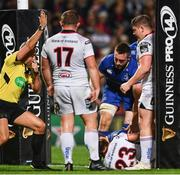 28 October 2017; Referee John Lacey awards a try to Luke McGrath of Leinster during the Guinness PRO14 Round 7 match between Ulster and Leinster at the Kingspan Stadium in Belfast. Photo by Ramsey Cardy/Sportsfile