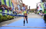 29 October 2017; Nataliya Lehonkova of Ukraine crosses the line to win the women's category during the SSE Airtricity Dublin Marathon 2017 at Merrion Square in Dublin City. 20,000 runners took to the Fitzwilliam Square start line to participate in the 38th running of the SSE Airtricity Dublin Marathon, making it the fifth largest marathon in Europe. Photo by Sam Barnes/Sportsfile