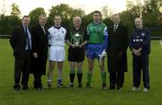 30 October 2002; George Kyne, Chairman of the Garda GAA club, left, Garda Commissioner Pat Byrne, 2nd left, John Keane, Garda Siochana team captain, Referee Senan Finucane, Damian Tucker, PSNI team captain,  Chief Constable of Northern Ireland, Hugh Orde, and Chief Supt Brian McCargo, Chairman of the PSNI GAA club, pictured before a representative Gaelic Football match between An Garda Siochana and the Police Service of Northern Ireland at the Westmanstown Sports Centre, Westmanstown, Co. Dublin. Picture credit; Brendan Moran / SPORTSFILE *EDI*