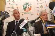 5 November 2002;  Republic of Ireland Manager Mick McCarthy, left, and Brendan Menton, Chief Exectuive of the FAI, pictured at a press conference at which his departure as manager of the Reoublic of Ireland team was announced. Soccer. Picture credit; David Maher / SPORTSFILE *EDI*