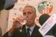 5 November 2002; Republic of Ireland Manager Mick McCarthy pictured at a press conference at which his departure as manager of the Republic of Ireland team was announced. Soccer. Picture credit; David Maher / SPORTSFILE *EDI*
