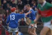 17 November 2002; Eoin Kelly, Mount Sion is congratulated by Michael White,10, after scoring the winning goal against Mullinahone. Mount Sion v Mullinahone, Munster Club Hurling Semi Final, Walsh Park, Waterford. Hurling. Picture credit; Matt Browne / SPORTSFILE *EDI*