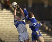 24 November 2002; Peter Loughran, Errigal Ciaran, contests a high Ball with Ballinderry's Enda Muldoon. Errigal Ciaran v Ballinderry, Ulster Club Semi Final, St Tighearnachs Park, Clones, Co. Monaghan. Football. Picture credit; Damien Eagers / SPORTSFILE *EDI*