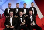 29 November 2002; Pictured are the Allstar award winning Armagh footballers (from l to r) Enda McNulty, Aidan O'Rourke, Kieran McGeeney and Paul McGrane, (front row l to r); Steven McDonnell, Oisin McConville and Players' Player of the year Ronan Clarke, at the Vodafone GAA Allstar Awards in the Citywest Hotel, Dublin. Hurling. Football. Picture credit; Brendan Moran / SPORTSFILE *EDI*