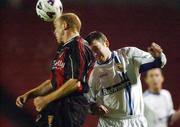 29 November 2002; Glen Crowe, Bohemians, in action against Robert McAuley, UCD. Bohemians v UCD, eircom League Premier Division, Dalymount Park, Dublin. Soccer. Picture credit; David Maher / SPORTSFILE *EDI*
