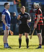 29 October 2017; Referee Colm Lyons performs the coin toss in the company of Thurles Sarsfields captain Padraic Maher and Ballygunner captain Shane Walsh during the AIB Munster GAA Hurling Senior Club Championship Quarter-Final match between Ballygunner and Thurles Sarsfields at Walsh Park in Waterford. Photo by Diarmuid Greene/Sportsfile