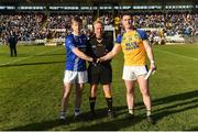 29 October 2017; Donal Morgan of Scotstown and Patrick McBrearty of Kilcar with referee Ciaran Branagan during the AIB Ulster GAA Football Senior Club Championship Quarter-Final match between Scotstown and Kilcar at St Tiernach's Park, Clones in Monaghan. Photo by Philip Fitzpatrick/Sportsfile