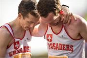29 October 2017; Ger Forde, left, hugs Crusaders AC team-mate Brian O'Kelly after finishing the SSE Airtricity Dublin Marathon 2017 in Dublin City. 20,000 runners took to the Fitzwilliam Square start line to participate in the 38th running of the SSE Airtricity Dublin Marathon, making it the fifth largest marathon in Europe. Photo by Cody Glenn/Sportsfile