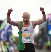 29 October 2017; Brian Gurrin from Wicklow finishes the SSE Airtricity Dublin Marathon 2017 in Dublin City. 20,000 runners took to the Fitzwilliam Square start line to participate in the 38th running of the SSE Airtricity Dublin Marathon, making it the fifth largest marathon in Europe. Photo by Cody Glenn/Sportsfile