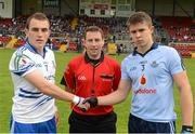 5 August 2012; Referee Derek O'Mahoney along with Monaghan captain Padraic Keenan, left, and Dublin captain David Byrne. Electric Ireland GAA Football All-Ireland Minor Championship Quarter-Final, Dublin v Monaghan, Páirc Esler, Newry, Co. Down. Picture credit: Oliver McVeigh / SPORTSFILE