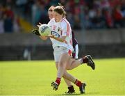 25 August 2012; Eimear Scally, Cork, in action against Nicola Ward, Galway. All Ireland U16 'A' Championship Final, Cork v Galway, MacDonagh Park, Nenagh, Co. Tipperary. Picture credit: Matt Browne / SPORTSFILE