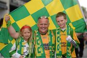 26 August 2012; Supporters Patrick Barry and his daughter Aoibheann  and son Rossa, Mount Charles, Co. Donegal, ahead of the game. GAA Football All-Ireland Senior Championship Semi-Final, Cork v Donegal, Croke Park, Dublin. Picture credit: Oliver McVeigh / SPORTSFILE