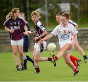 25 August 2012; Beatrice Casey, Cork, in action against  Galway. All Ireland U16 'A' Championship Final, Cork v Galway, MacDonagh Park, Nenagh, Co. Tipperary. Picture credit: Matt Browne / SPORTSFILE