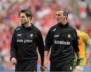 26 August 2012; Rory Gallagher, Donegal assistant manager, and Jim McGuiness, Donegal Manager, before the game. GAA Football All-Ireland Senior Championship Semi-Final, Cork v Donegal, Croke Park, Dublin. Picture credit: Oliver McVeigh / SPORTSFILE