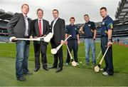 28 August 2012; The 40th Annual One Direct Kilmacud Crokes All-Ireland Senior Hurling Sevens Competition was launched today in Croke Park. In attendance at the launch are, from left, former Galway hurler Ollie Canning, One Direct Managing Director David Egan, and former Kilkenny hurler Eddie Brennan, Jack Dougan, Kilmacud Crokes, Caolan Conway, Dublin, and Niall Corcoran, Dublin. Croke Park, Dublin. Picture credit: Barry Cregg / SPORTSFILE