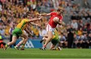 26 August 2012; Alan O'Connor, Cork, in action against, left, Michael Murphy, and Colm McFadden, Donegal. GAA Football All-Ireland Senior Championship Semi-Final, Cork v Donegal, Croke Park, Dublin. Picture credit: Tomas Greally / SPORTSFILE