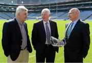 29 August 2012; Dublin's Mickey Whelan who was inducted into the Kick Fada Hall of Fame with past recipients Mick O'Dwyer, Kerry, left, and Billy Morgan, Cork, centre. Kick Fada Hall of Fame, Croke Park, Dublin. Picture credit: Stephen McCarthy / SPORTSFILE