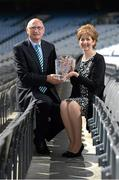29 August 2012; Dublin's Mickey Whelan who was inducted into the Kick Fada Hall of Fame is presented with his award by Frances Stephenson, Chairperson, Bray Emmets GAA Club, Wicklow. Kick Fada Hall of Fame, Croke Park, Dublin. Picture credit: Stephen McCarthy / SPORTSFILE