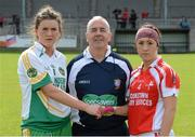 2 September 2012; Referee Michael Henry with Emma Dalton, Offaly, and Ann Marie Murphy, Louth. TG4 All-Ireland Ladies Football Junior Championship Semi-Final, Louth v Offaly, Clane GAA Club, Co. Kildare. Picture credit: Matt Browne / SPORTSFILE