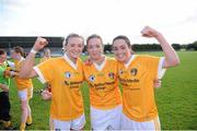 2 September 2012; Antrim players from left Aine Tubridy, Nicole Kelly and Clare Timoney celebrate after the game. TG4 All-Ireland Ladies Football Junior Championship Semi-Final, Antrim v Wexford, Clane GAA Club, Co. Kildare. Picture credit: Matt Browne / SPORTSFILE