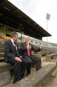 3 September 2012; Tom Daly, Chairman of the Casement Park Stadium redevelopment Board, and Bill Dowey, Chief Designer at Mott McDonald Ltd, at the annoucement by Ulster GAA Council of the appointment of World renowned Stadium Designers Mott McDonald Ltd, for the design of the new stadium on the site of Casement Park, Belfast. Announcement of Casement Park Stadium Redevelopment, Casement Park, Belfast, Co. Antrim. Picture credit: Oliver McVeigh / SPORTSFILE