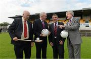3 September 2012; Danny Murphy, Ulster GAA secretary, Martin McGuinness, MLA, Deputy First Minister, Northern Ireland Executive, Tom Daly, Chairman of the Casement Park Stadium redevelopment Board, and GAA Ard Stiúrthoir Paraic Duffy at the annoucement by Ulster GAA Council of the appointment of World renowned Stadium Designers Mott McDonald Ltd, for the design of the new stadium on the site of Casement Park, Belfast. Announcement of Casement Park Stadium Redevelopment, Casement Park, Belfast, Co. Antrim. Picture credit: Oliver McVeigh / SPORTSFILE